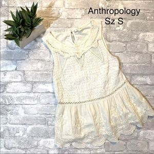 Anthropology/Meadow Rue sleeveless crochet blouse